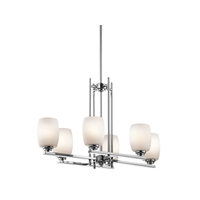 Kichler 3898CHL16 Eileen 6 Light 16 inch Chrome Chandelier Ceiling Light in LED, Satin Etched Cased Opal, Dimmable
