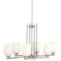 Kichler 3898NI Eileen 6 Light 30 inch Brushed Nickel Island Light Ceiling Light in Standard, Satin Etched Cased Opal