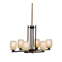 Kichler 3898OZ Eileen 6 Light 30 inch Olde Bronze Island Light Ceiling Light in Umber Etched Glass, Standard