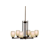 Eileen 6 Light 16 inch Olde Bronze Chandelier Ceiling Light in Umber Etched Glass, LED, Dimmable