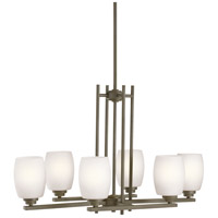Kichler 3898OZS Eileen 6 Light 16 inch Olde Bronze Chandelier Ceiling Light in Satin Etched Cased Opal, Standard