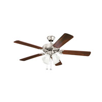 Kichler 402NI7 Basics Revisited 52 inch Brushed Nickel with Walnut MS-97503 Blades Fan in White Etched Single Rib