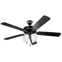 Kichler 402SBK Basics 52 inch Satin Black with Black Blades Indoor Ceiling Fan