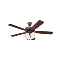 Kichler 402SNB Basics Revisited 52 inch Satin Natural Bronze with Teak MS-98556 Blades Fan in White Etched Single Rib