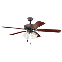 Basics 52 inch Satin Natural Bronze with Dark Cherry/Teak Blades Indoor Ceiling Fan