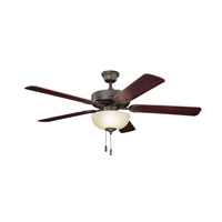 Kichler 403SNB Basics Revisited 52 inch Satin Natural Bronze with Teak MS-98556 Blades Fan in White Etched Glass photo thumbnail