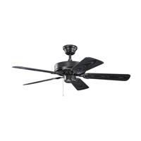 Kichler 414SBK Basics Revisited 42 inch Satin Black with Satin Natural Black Blades Fan