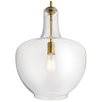 Kichler 42046NBR Everly 1 Light 14 inch Natural Brass Pendant Ceiling Light in Clear  alternative photo thumbnail
