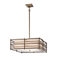 Moxie 3 Light 24 inch Cambridge Bronze Inverted Pendant Ceiling Light
