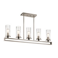 Kichler 42124CLP Kayde 5 Light 40 inch Classic Pewter Linear Chandelier Ceiling Light, Single