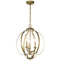 Kichler 42140NBR Voleta 3 Light 17 inch Natural Brass Pendant Ceiling Light