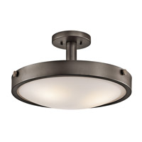Kichler 42245OZ Lytham 3 Light 18 inch Olde Bronze Convertible Semi-Flush Mount Ceiling Light
