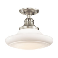 Keller 1 Light 12 inch Brushed Nickel Semi-Flush Mount Ceiling Light