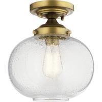Kichler 42296NBR Avery 1 Light 10 inch Natural Brass Semi Flush Light Ceiling Light