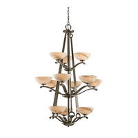Kichler Lighting Garland 12 Light Foyer Chandelier in Shadow Bronze 42358SWZ