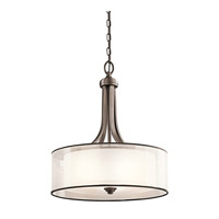Kichler 42385MIZ Lacey 3 Light 20 inch Mission Bronze Inverted Pendant Ceiling Light, shade only is organza is 20 x 7