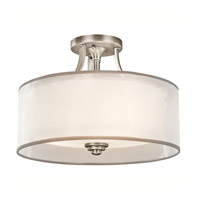 Lacey 3 Light 15 inch Antique Pewter Semi-Flush Ceiling Light