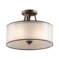 Kichler 42386MIZ Lacey 3 Light 15 inch Mission Bronze Semi-Flush Ceiling Light
