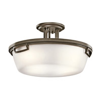 Kichler Lighting Leeds 3 Light Semi-Flush in Shadow Bronze 42433SWZ