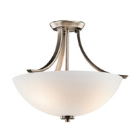 Granby 3 Light 17 inch Brushed Pewter Semi-Flush Ceiling Light