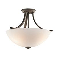Kichler 42563OZFL Granby 3 Light 17 inch Olde Bronze Semi-Flush Ceiling Light in Fluorescent
