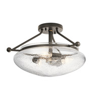 Belle 3 Light 17 inch Olde Bronze Semi Flush Mount Ceiling Light