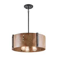 Kichler Elbur 3 Light Semi-Flush Convertible Pendant in Distressed Black 42644DBK