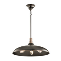 Kichler 42649OZ Cobson 3 Light 20 inch Olde Bronze Pendant Ceiling Light