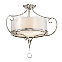 Lara 3 Light 21 inch Classic Pewter Semi-Flush Ceiling Light