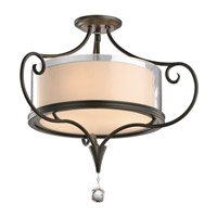 Lara 3 Light 21 inch Shadow Bronze Semi-Flush Ceiling Light