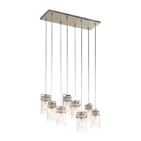 Kichler 42890NI Brinley 8 Light 10 inch Brushed Nickel Chandelier Linear (Double) Ceiling Light