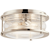 Kichler 42910PN Ashland Bay 2 Light 12 inch Polished Nickel Outdoor Flush Mount