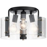 Kichler 42954BK Thoreau 3 Light 14 inch Black Semi Flush Light Ceiling Light