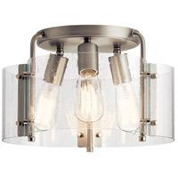 Kichler 42954NI Thoreau 3 Light 14 inch Brushed Nickel Semi Flush Mount Ceiling Light
