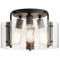 Kichler 42954OZ Thoreau 3 Light 14 inch Olde Bronze Semi Flush Mount Ceiling Light