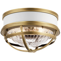 Kichler 43013NBR Tollis 2 Light 12 inch Natural Brass Flush Mount Ceiling Light