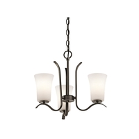 Kichler 43073OZL16 Armida 3 Light 18 inch Olde Bronze Mini Chandelier Ceiling Light in LED, Dimmable