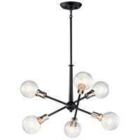 Kichler 43095BK Armstrong 6 Light 20 inch Black Chandelier Ceiling Light, Small