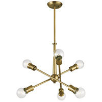 Kichler 43095NBR Armstrong 6 Light 20 inch Natural Brass Chandelier Ceiling Light, Small