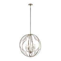 Kichler 43097PN Montavello 6 Light 26 inch Polished Nickel Chandelier Ceiling Light, Medium