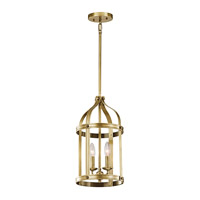Kichler Steeplechase 2 Light Indoor Lantern Pendant in Natural Brass 43105NBR