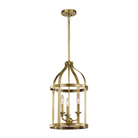 Kichler Steeplechase 3 Light Indoor Lantern Pendant in Natural Brass 43106NBR
