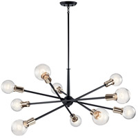 Kichler 43119BK Armstrong 10 Light 47 inch Black Chandelier Ceiling Light, Large