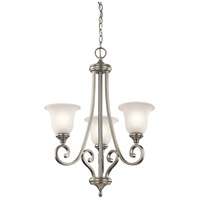 Kichler 43155NI Monroe 3 Light 23 inch Brushed Nickel Chandelier Ceiling Light in Satin Etched Glass Incandescent Small