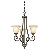 Kichler 43155OZL18 Monroe LED 23 inch Olde Bronze Chandelier Ceiling Light in Light Umber Etched, 1 Tier Small