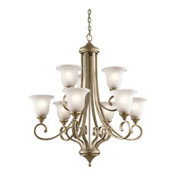 Monroe 9 Light 34 inch Sterling Gold Chandelier 2 Tier Ceiling Light