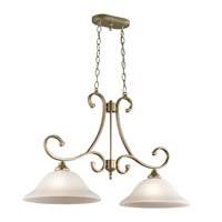 Monroe 2 Light 14 inch Sterling Gold Chandelier Island Ceiling Light