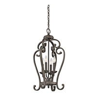 Kichler 43165OZ Monroe 4 Light 15 inch Olde Bronze Foyer Chain Hung Ceiling Light