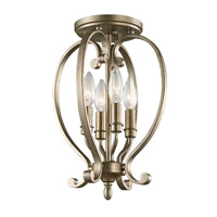 Monroe 4 Light 11 inch Sterling Gold Semi Flush Ceiling Light