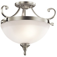 Kichler 43169NI Monroe 2 Light 17 inch Brushed Nickel Semi-Flush Ceiling Light